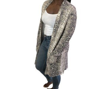 (NWT) Brushed Snake Print Open Front Cardigan